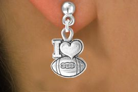 """<bR>                EXCLUSIVELY OURS!!<Br>         AN ALLAN ROBIN DESIGN!!<BR>CLICK HERE TO SEE 120+ EXCITING<BR>  CHANGES THAT YOU CAN MAKE!<BR>              LEAD & NICKEL FREE!!<BR>  W679SE - """"I LOVE FOOTBALL"""" &<BR>  EARRINGS FROM $4.50 TO $8.35"""
