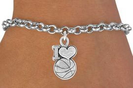 """<bR>               EXCLUSIVELY OURS!!<Br>         AN ALLAN ROBIN DESIGN!!<BR>CLICK HERE TO SEE 120+ EXCITING<BR>   CHANGES THAT YOU CAN MAKE!<BR>              LEAD & NICKEL FREE!!<BR>W681SB - """"I LOVE BASKETBALL"""" &<Br>    BRACELET FROM $4.50 TO $8.35"""