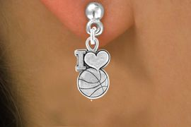 """<bR>                EXCLUSIVELY OURS!!<Br>         AN ALLAN ROBIN DESIGN!!<BR>CLICK HERE TO SEE 120+ EXCITING<BR>  CHANGES THAT YOU CAN MAKE!<BR>              LEAD & NICKEL FREE!!<BR>W681SE - """"I LOVE BASKETBALL"""" &<BR>   EARRINGS FROM $4.50 TO $8.35"""