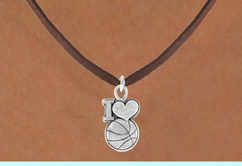 """<bR>                 EXCLUSIVELY OURS!!<Br>           AN ALLAN ROBIN DESIGN!!<BR>  CLICK HERE TO SEE 120+ EXCITING<BR>     CHANGES THAT YOU CAN MAKE!<BR>                LEAD & NICKEL FREE!!<BR>  W681SN - """"I LOVE BASKETBALL"""" &<BR>     NECKLACE FROM $4.50 TO $8.35"""