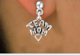 """<bR>                EXCLUSIVELY OURS!!<Br>         AN ALLAN ROBIN DESIGN!!<BR>CLICK HERE TO SEE 120+ EXCITING<BR>   CHANGES THAT YOU CAN MAKE!<BR>              LEAD & NICKEL FREE!!<BR>W682SE - """"TEAM MOM"""" CHARM &<BR>   EARRINGS FROM $4.50 TO $8.35"""