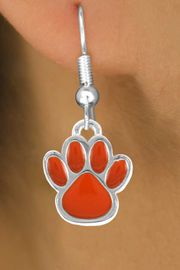 <bR>                EXCLUSIVELY OURS!!<Br>         AN ALLAN ROBIN DESIGN!!<BR>CLICK HERE TO SEE 120+ EXCITING<BR>   CHANGES THAT YOU CAN MAKE!<BR>              LEAD & NICKEL FREE!!<BR>  W686SE - MEDIUM ORANGE PAW &<BR>   EARRINGS FROM $4.50 TO $8.35