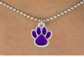 <bR>                 EXCLUSIVELY OURS!!<Br>           AN ALLAN ROBIN DESIGN!!<BR>  CLICK HERE TO SEE 120+ EXCITING<BR>     CHANGES THAT YOU CAN MAKE!<BR>                LEAD & NICKEL FREE!!<BR>    W687SN - MEDIUM PURPLE PAW &<BR>     NECKLACE FROM $4.50 TO $8.35