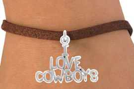 """<bR>               EXCLUSIVELY OURS!!<Br>         AN ALLAN ROBIN DESIGN!!<BR>CLICK HERE TO SEE 120+ EXCITING<BR>   CHANGES THAT YOU CAN MAKE!<BR>              LEAD & NICKEL FREE!!<BR>     W691SB - """"I LOVE COWBOYS""""<Br>   BRACELET FROM $4.50 TO $8.35"""