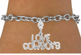 "<bR>               EXCLUSIVELY OURS!!<Br>         AN ALLAN ROBIN DESIGN!!<BR>CLICK HERE TO SEE 120+ EXCITING<BR>   CHANGES THAT YOU CAN MAKE!<BR>              LEAD & NICKEL FREE!!<BR>     W691SB - ""I LOVE COWBOYS""<Br>   BRACELET FROM $4.50 TO $8.35"