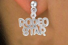 """<bR>                EXCLUSIVELY OURS!!<Br>          AN ALLAN ROBIN DESIGN!!<BR> CLICK HERE TO SEE 120+ EXCITING<BR>    CHANGES THAT YOU CAN MAKE!<BR>               LEAD & NICKEL FREE!!<BR>  W692SE - """"RODEO STAR"""" CHARM<BR> & EARRINGS FROM $4.50 TO $8.35"""