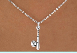 <bR>               EXCLUSIVELY OURS!!<Br>         AN ALLAN ROBIN DESIGN!!<BR>CLICK HERE TO SEE 120+ EXCITING<BR>   CHANGES THAT YOU CAN MAKE!<BR>              LEAD & NICKEL FREE!!<BR>  W705SN - BASEBALL/SOFTBALL<BR>    BALL & BAT CHARM NECKLACE<Br>              FROM $4.50 TO $8.35