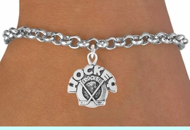 """<bR>               EXCLUSIVELY OURS!!<Br>         AN ALLAN ROBIN DESIGN!!<BR>CLICK HERE TO SEE 120+ EXCITING<BR>   CHANGES THAT YOU CAN MAKE!<BR>              LEAD & NICKEL FREE!!<BR>    W708SB - """"HOCKEY ROCKS"""" &<Br>   BRACELET FROM $4.50 TO $8.35"""