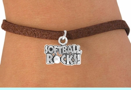 """<bR>               EXCLUSIVELY OURS!!<Br>          AN ALLAN ROBIN DESIGN!!<BR> CLICK HERE TO SEE 120+ EXCITING<BR>    CHANGES THAT YOU CAN MAKE!<BR>               LEAD & NICKEL FREE!!<BR>   W715SB -  """"SOFTBALL ROCKS""""� &<Br>    BRACELET FROM $4.50 TO $8.35<Br>                               &#169;2010"""