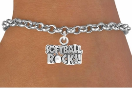 "<bR>               EXCLUSIVELY OURS!!<Br>          AN ALLAN ROBIN DESIGN!!<BR> CLICK HERE TO SEE 120+ EXCITING<BR>    CHANGES THAT YOU CAN MAKE!<BR>               LEAD & NICKEL FREE!!<BR>   W715SB -  ""SOFTBALL ROCKS""� &<Br>    BRACELET FROM $4.50 TO $8.35<Br>                               &#169;2010"