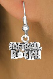 """<bR>                EXCLUSIVELY OURS!!<Br>          AN ALLAN ROBIN DESIGN!!<BR> CLICK HERE TO SEE 120+ EXCITING<BR>    CHANGES THAT YOU CAN MAKE!<BR>               LEAD & NICKEL FREE!!<BR>    W715SE - """"SOFTBALL ROCKS""""� &<BR>    EARRINGS FROM $4.50 TO $8.35<bR>                                &#169;2010"""