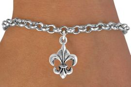 """<bR>               EXCLUSIVELY OURS!!<Br>          AN ALLAN ROBIN DESIGN!!<BR> CLICK HERE TO SEE 120+ EXCITING<BR>    CHANGES THAT YOU CAN MAKE!<BR>               LEAD & NICKEL FREE!!<BR> W716SB -  """"FLEUR DE LIS"""" CHARM<Br>    BRACELET FROM $4.50 TO $8.35<Br>                                &#169;2010"""