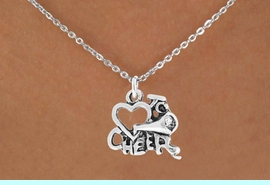 """<bR>                 EXCLUSIVELY OURS!!<Br>           AN ALLAN ROBIN DESIGN!!<BR>  CLICK HERE TO SEE 120+ EXCITING<BR>     CHANGES THAT YOU CAN MAKE!<BR>                LEAD & NICKEL FREE!!<BR>       W717SN - """"LOVE TO CHEER"""" &<BR>     NECKLACE FROM $4.50 TO $8.35"""