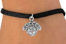 """<bR>                 EXCLUSIVELY OURS!!<Br>           AN ALLAN ROBIN DESIGN!!<BR>  CLICK HERE TO SEE 120+ EXCITING<BR>     CHANGES THAT YOU CAN MAKE!<BR>                LEAD & NICKEL FREE!!<BR>         W734SB - """"SOCCER"""" & BALL<Br>      BRACELET FROM $4.50 TO $8.35"""