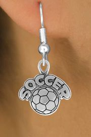 """<bR>                 EXCLUSIVELY OURS!!<Br>           AN ALLAN ROBIN DESIGN!!<BR>  CLICK HERE TO SEE 120+ EXCITING<BR>     CHANGES THAT YOU CAN MAKE!<BR>                LEAD & NICKEL FREE!!<BR>         W734SE - """"SOCCER"""" & BALL<BR>    EARRINGS FROM $4.50 TO $8.35"""