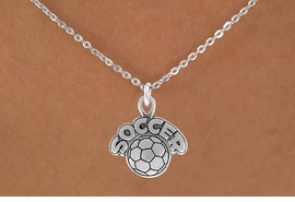 "<bR>                 EXCLUSIVELY OURS!!<Br>           AN ALLAN ROBIN DESIGN!!<BR>  CLICK HERE TO SEE 120+ EXCITING<BR>     CHANGES THAT YOU CAN MAKE!<BR>                LEAD & NICKEL FREE!!<BR>         W734SN - ""SOCCER"" & BALL<BR>     NECKLACE FROM $4.50 TO $8.35"