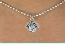 """<bR>                 EXCLUSIVELY OURS!!<Br>           AN ALLAN ROBIN DESIGN!!<BR>  CLICK HERE TO SEE 120+ EXCITING<BR>     CHANGES THAT YOU CAN MAKE!<BR>                LEAD & NICKEL FREE!!<BR>         W734SN - """"SOCCER"""" & BALL<BR>     NECKLACE FROM $4.50 TO $8.35"""