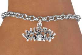 """<bR>                 EXCLUSIVELY OURS!!<Br>           AN ALLAN ROBIN DESIGN!!<BR>  CLICK HERE TO SEE 120+ EXCITING<BR>     CHANGES THAT YOU CAN MAKE!<BR>                LEAD & NICKEL FREE!!<BR>       W735SB - """"VOLLEYBALL MOM""""<Br>      BRACELET FROM $4.50 TO $8.35"""