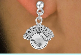 """<bR>                 EXCLUSIVELY OURS!!<Br>           AN ALLAN ROBIN DESIGN!!<BR>  CLICK HERE TO SEE 120+ EXCITING<BR>     CHANGES THAT YOU CAN MAKE!<BR>                LEAD & NICKEL FREE!!<BR>      W740SE - """"SOFTBALL"""" & BALL<BR>     EARRINGS FROM $4.50 TO $8.35"""