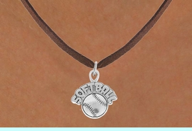 """<bR>                 EXCLUSIVELY OURS!!<Br>           AN ALLAN ROBIN DESIGN!!<BR>  CLICK HERE TO SEE 120+ EXCITING<BR>     CHANGES THAT YOU CAN MAKE!<BR>                LEAD & NICKEL FREE!!<BR>      W740SN - """"SOFTBALL"""" & BALL<BR>     NECKLACE FROM $4.50 TO $8.35"""