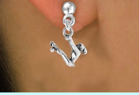 """<bR>                 EXCLUSIVELY OURS!!<Br>           AN ALLAN ROBIN DESIGN!!<BR>  CLICK HERE TO SEE 120+ EXCITING<BR>     CHANGES THAT YOU CAN MAKE!<BR>                LEAD & NICKEL FREE!!<BR>W746SE - """"SWINGING GYMNAST"""" &<BR>     EARRINGS FROM $4.50 TO $8.35"""