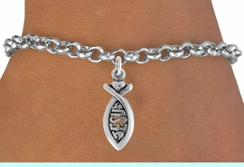 """<bR>                 EXCLUSIVELY OURS!!<Br>           AN ALLAN ROBIN DESIGN!!<BR>  CLICK HERE TO SEE 120+ EXCITING<BR>     CHANGES THAT YOU CAN MAKE!<BR>                LEAD & NICKEL FREE!!<BR>           W747SB - """"JESUS"""" FISH &<Br>      BRACELET FROM $4.50 TO $8.35"""