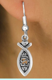 """<bR>                 EXCLUSIVELY OURS!!<Br>           AN ALLAN ROBIN DESIGN!!<BR>  CLICK HERE TO SEE 120+ EXCITING<BR>     CHANGES THAT YOU CAN MAKE!<BR>                LEAD & NICKEL FREE!!<BR>            W747SE - """"JESUS"""" FISH &<BR>     EARRINGS FROM $4.50 TO $8.35"""
