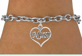 """<bR>                 EXCLUSIVELY OURS!!<Br>           AN ALLAN ROBIN DESIGN!!<BR>  CLICK HERE TO SEE 120+ EXCITING<BR>     CHANGES THAT YOU CAN MAKE!<BR>                LEAD & NICKEL FREE!!<BR>        W750SB - """"NURSE"""" HEART &<Br>     BRACELET FROM $4.50 TO $8.35"""