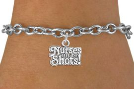 """<bR>                  EXCLUSIVELY OURS!!<Br>            AN ALLAN ROBIN DESIGN!!<BR>   CLICK HERE TO SEE 120+ EXCITING<BR>      CHANGES THAT YOU CAN MAKE!<BR>                 LEAD & NICKEL FREE!!<BR>W751SB - """"NURSES CALL THE SHOTS""""<Br>      BRACELET FROM $4.50 TO $8.35"""