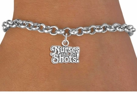 "<bR>                  EXCLUSIVELY OURS!!<Br>            AN ALLAN ROBIN DESIGN!!<BR>   CLICK HERE TO SEE 120+ EXCITING<BR>      CHANGES THAT YOU CAN MAKE!<BR>                 LEAD & NICKEL FREE!!<BR>W751SB - ""NURSES CALL THE SHOTS""<Br>      BRACELET FROM $4.50 TO $8.35"