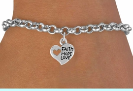 """<bR>                 EXCLUSIVELY OURS!!<Br>           AN ALLAN ROBIN DESIGN!!<BR>  CLICK HERE TO SEE 120+ EXCITING<BR>     CHANGES THAT YOU CAN MAKE!<BR>                LEAD & NICKEL FREE!!<BR>      W756SB - """"FAITH, HOPE, LOVE""""<Br>     HEART CHARM BRACELET FROM<Br>                        $4.50 TO $8.35"""
