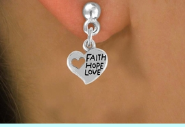 """<bR>                 EXCLUSIVELY OURS!!<Br>           AN ALLAN ROBIN DESIGN!!<BR>  CLICK HERE TO SEE 120+ EXCITING<BR>    CHANGES THAT YOU CAN MAKE!<BR>               LEAD & NICKEL FREE!!<BR>      W756SE - """"FAITH, HOPE, LOVE""""<BR>     HEART CHARM EARRINGS FROM<Br>                       $4.50 TO $8.35"""