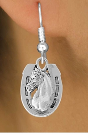 <bR>               EXCLUSIVELY OURS!!<Br>         AN ALLAN ROBIN DESIGN!!<BR>CLICK HERE TO SEE 120+ EXCITING<BR>   CHANGES THAT YOU CAN MAKE!<BR>               LEAD & NICKEL FREE!!<BR>  W802SE - HORSESHOE & HORSE<Br>  EARRINGS FROM $4.50 TO $8.35