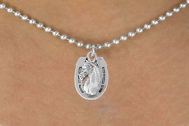 <bR>               EXCLUSIVELY OURS!!<Br>         AN ALLAN ROBIN DESIGN!!<BR>CLICK HERE TO SEE 120+ EXCITING<BR>   CHANGES THAT YOU CAN MAKE!<BR>               LEAD & NICKEL FREE!!<BR>  W802SN - HORSESHOE & HORSE<Br>   NECKLACE FROM $4.50 TO $8.35