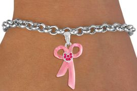 <bR>                EXCLUSIVELY OURS!!<Br>          AN ALLAN ROBIN DESIGN!!<BR> CLICK HERE TO SEE 120+ EXCITING<BR>    CHANGES THAT YOU CAN MAKE!<BR>               LEAD & NICKEL FREE!!<BR>        W817SB - PINK AWARENESS<Br>RIBBON WITH AUSTRIAN CRYSTALS<Br>    BRACELET FROM $4.50 TO $8.35