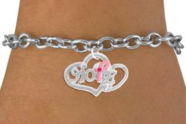 "<bR>                  EXCLUSIVELY OURS!!<BR>            AN ALLAN ROBIN DESIGN!!<BR>   CLICK HERE TO SEE 120+ EXCITING<BR>      CHANGES THAT YOU CAN MAKE!<BR>                 LEAD & NICKEL FREE!!<BR>W818SB - ""HOPE"" PINK AWARENESS<BR>RIBBON AND DOUBLE-HEART CHARM<Br>    & BRACELET FROM $4.50 TO $8.35"
