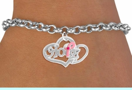 """<bR>                  EXCLUSIVELY OURS!!<BR>            AN ALLAN ROBIN DESIGN!!<BR>   CLICK HERE TO SEE 120+ EXCITING<BR>      CHANGES THAT YOU CAN MAKE!<BR>                 LEAD & NICKEL FREE!!<BR>W818SB - """"HOPE"""" PINK AWARENESS<BR> RIBBON AND DOUBLE-HEART CHARM<Br>     & BRACELET FROM $4.50 TO $8.35"""