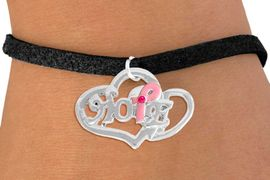 """<bR>                  EXCLUSIVELY OURS!!<BR>            AN ALLAN ROBIN DESIGN!!<BR>   CLICK HERE TO SEE 120+ EXCITING<BR>      CHANGES THAT YOU CAN MAKE!<BR>                 LEAD & NICKEL FREE!!<BR>W818SB - """"HOPE"""" PINK AWARENESS<BR>RIBBON AND DOUBLE-HEART CHARM<Br>    & BRACELET FROM $4.50 TO $8.35"""