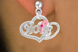 """<bR>                   EXCLUSIVELY OURS!!<BR>            AN ALLAN ROBIN DESIGN!!<BR>   CLICK HERE TO SEE 120+ EXCITING<BR>      CHANGES THAT YOU CAN MAKE!<BR>                 LEAD & NICKEL FREE!!<BR> W818SE - """"HOPE"""" PINK AWARENESS<BR>RIBBON AND DOUBLE-HEART CHARM<Br>   & EARRINGS FROM $4.50 TO $8.35"""