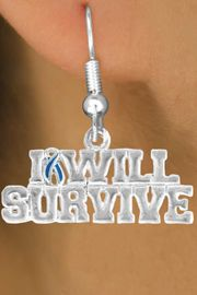 "<bR>               EXCLUSIVELY OURS!!<Br>         AN ALLAN ROBIN DESIGN!!<BR>CLICK HERE TO SEE 120+ EXCITING<BR>   CHANGES THAT YOU CAN MAKE!<BR>               LEAD & NICKEL FREE!!<BR> W822SE - ""I WILL SURVIVE"" TEAL<Br> AWARENESS RIBBON & EARRINGS<Br>              FROM $4.50 TO $8.35"
