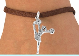 """<bR>                  EXCLUSIVELY OURS!!<Br>            AN ALLAN ROBIN DESIGN!!<BR>   CLICK HERE TO SEE 120+ EXCITING<BR>      CHANGES THAT YOU CAN MAKE!<BR>                 LEAD & NICKEL FREE!!<BR>W833SB - """"HIGH-KICK CHEERLEADER""""<Br>       BRACELET FROM $4.50 TO $8.35"""