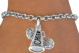 "<bR>                  EXCLUSIVELY OURS!!<Br>            AN ALLAN ROBIN DESIGN!!<BR>   CLICK HERE TO SEE 120+ EXCITING<BR>      CHANGES THAT YOU CAN MAKE!<BR>                 LEAD & NICKEL FREE!!<BR>     W835SB2 - ""CHEER"" MEGAPHONE<Br>            BRACELET  $8.38 EACH"