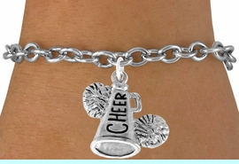 """<bR>                  EXCLUSIVELY OURS!!<Br>            AN ALLAN ROBIN DESIGN!!<BR>   CLICK HERE TO SEE 120+ EXCITING<BR>      CHANGES THAT YOU CAN MAKE!<BR>                 LEAD & NICKEL FREE!!<BR>     W835SB - """"CHEER"""" MEGAPHONE<Br>               BRACELET $8.38 EACH"""