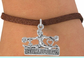 """<bR>                  EXCLUSIVELY OURS!!<Br>            AN ALLAN ROBIN DESIGN!!<BR>   CLICK HERE TO SEE 120+ EXCITING<BR>      CHANGES THAT YOU CAN MAKE!<BR>                 LEAD & NICKEL FREE!!<BR>      W837SB - """"I LOVE CHEERLEADING"""" <Br>CHARM BRACELET FROM $4.50 TO $8.35"""