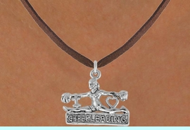 """<bR>               EXCLUSIVELY OURS!!<Br>         AN ALLAN ROBIN DESIGN!!<BR>CLICK HERE TO SEE 120+ EXCITING<BR>   CHANGES THAT YOU CAN MAKE!<BR>              LEAD & NICKEL FREE!!<BR>  W837SN - """"I LOVE CHEERLEADING""""<Br> CHARM NECKLACE FROM $4.50 TO $8.35"""