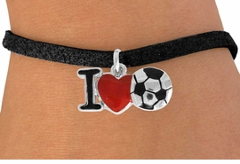 "<bR>               EXCLUSIVELY OURS!!<BR>         AN ALLAN ROBIN DESIGN!!<BR>CLICK HERE TO SEE 120+ EXCITING<BR>   CHANGES THAT YOU CAN MAKE!<BR>              LEAD & NICKEL FREE!!<BR>        W840SB - ""I LOVE SOCCER""<Br>  BRACELET FROM $4.50 TO $8.35 &#169;2011"