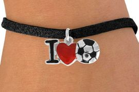 """<bR>               EXCLUSIVELY OURS!!<BR>         AN ALLAN ROBIN DESIGN!!<BR>CLICK HERE TO SEE 120+ EXCITING<BR>   CHANGES THAT YOU CAN MAKE!<BR>              LEAD & NICKEL FREE!!<BR>        W840SB - """"I LOVE SOCCER""""<Br>  BRACELET FROM $4.50 TO $8.35 &#169;2011"""