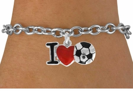 "<bR>               EXCLUSIVELY OURS!!<BR>         AN ALLAN ROBIN DESIGN!!<BR>CLICK HERE TO SEE 120+ EXCITING<BR>   CHANGES THAT YOU CAN MAKE!<BR>              LEAD & NICKEL FREE!!<BR>        W840SB - ""I LOVE SOCCER""<Br>  BRACELET FROM $4.50 TO $8.35<BR>                              &#169;2011"