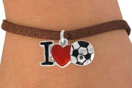 """<bR>               EXCLUSIVELY OURS!!<BR>         AN ALLAN ROBIN DESIGN!!<BR>CLICK HERE TO SEE 120+ EXCITING<BR>   CHANGES THAT YOU CAN MAKE!<BR>              LEAD & NICKEL FREE!!<BR>        W840SB - """"I LOVE SOCCER""""<Br>  BRACELET FROM $4.50 TO $8.35<BR>                              &#169;2011"""