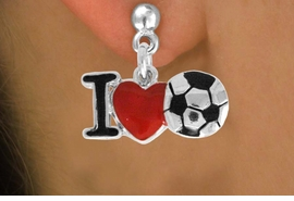 """<bR>               EXCLUSIVELY OURS!!<BR>         AN ALLAN ROBIN DESIGN!!<BR>CLICK HERE TO SEE 120+ EXCITING<BR>   CHANGES THAT YOU CAN MAKE!<BR>              LEAD & NICKEL FREE!!<BR>        W840SE - """"I LOVE SOCCER""""<Br>  EARRINGS FROM $4.50 TO $8.35<BR>                              &#169;2011"""